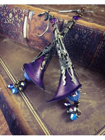 Vintage Lill Trumpet Earrings in Brass