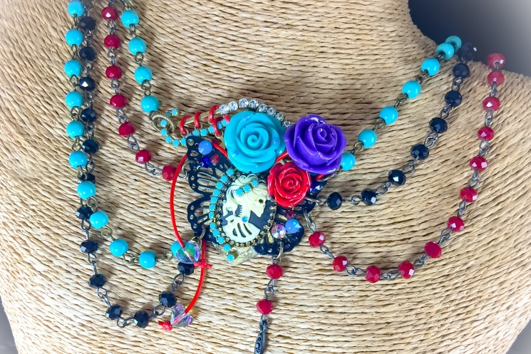 Day of the Dead rosary bead necklace