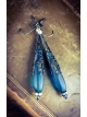 Teal Sea Glass Tear drop and brass filigree earrings
