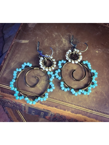 Lakes and Beaches Turquoise and sand crystal wired Earrings