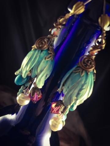 Hand Painted Tulip Flower Earrings